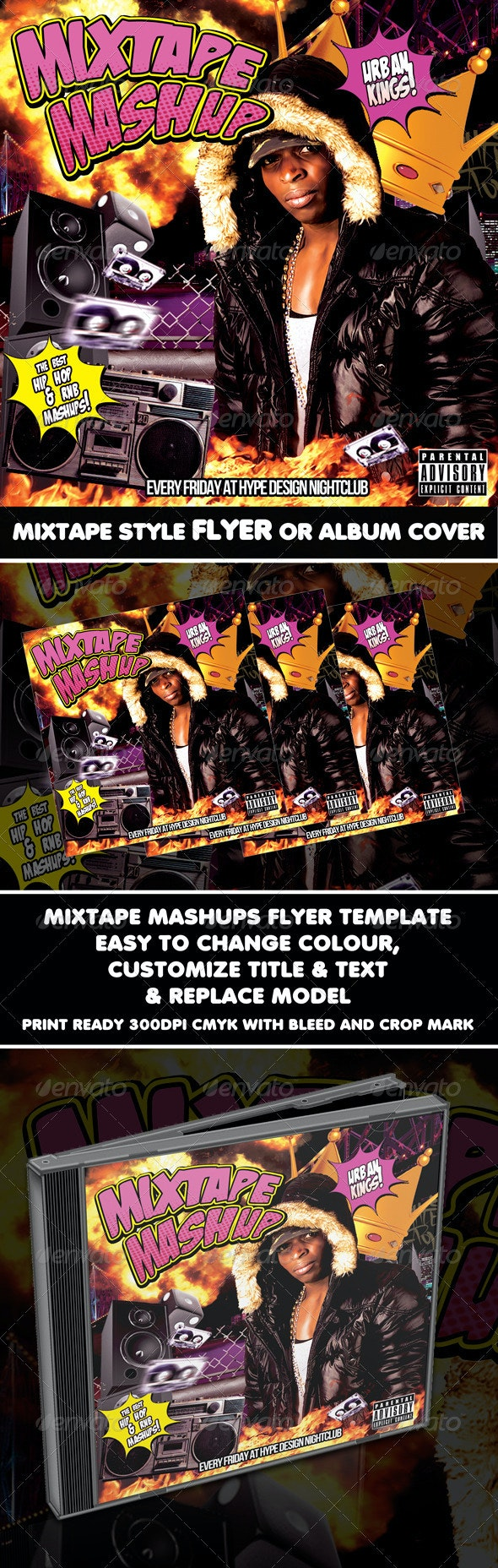 Mixtape Mashup Urban Kings Flyer or CD Template - CD & DVD Artwork Print Templates
