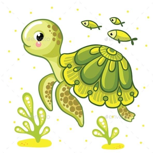 Cartoon Turtle Isolated