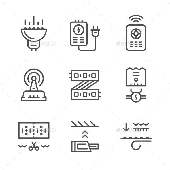 Set Line Icons of LED Equipment