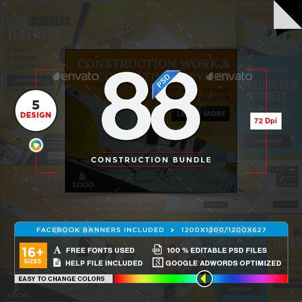 Construction Banners Bundle - 5 Sets - 88 Banners
