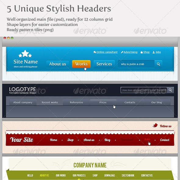 5 Unique Stylish Headers