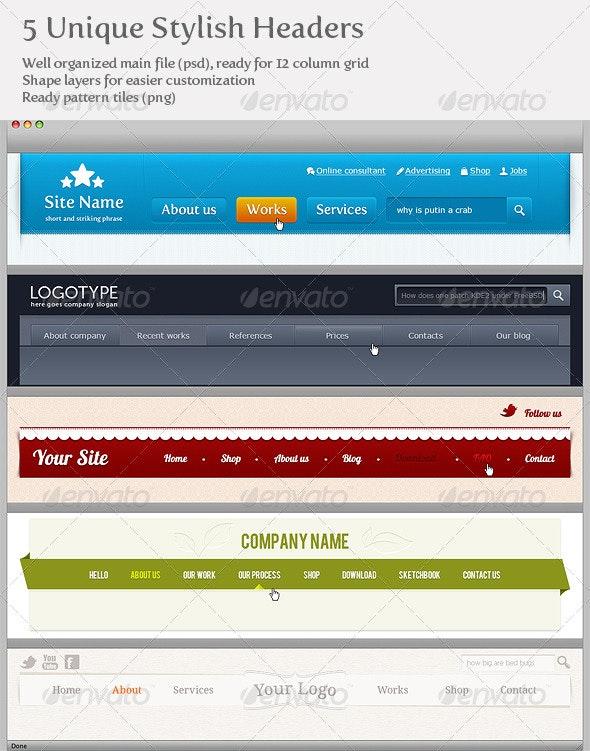 5 Unique Stylish Headers - Web Elements