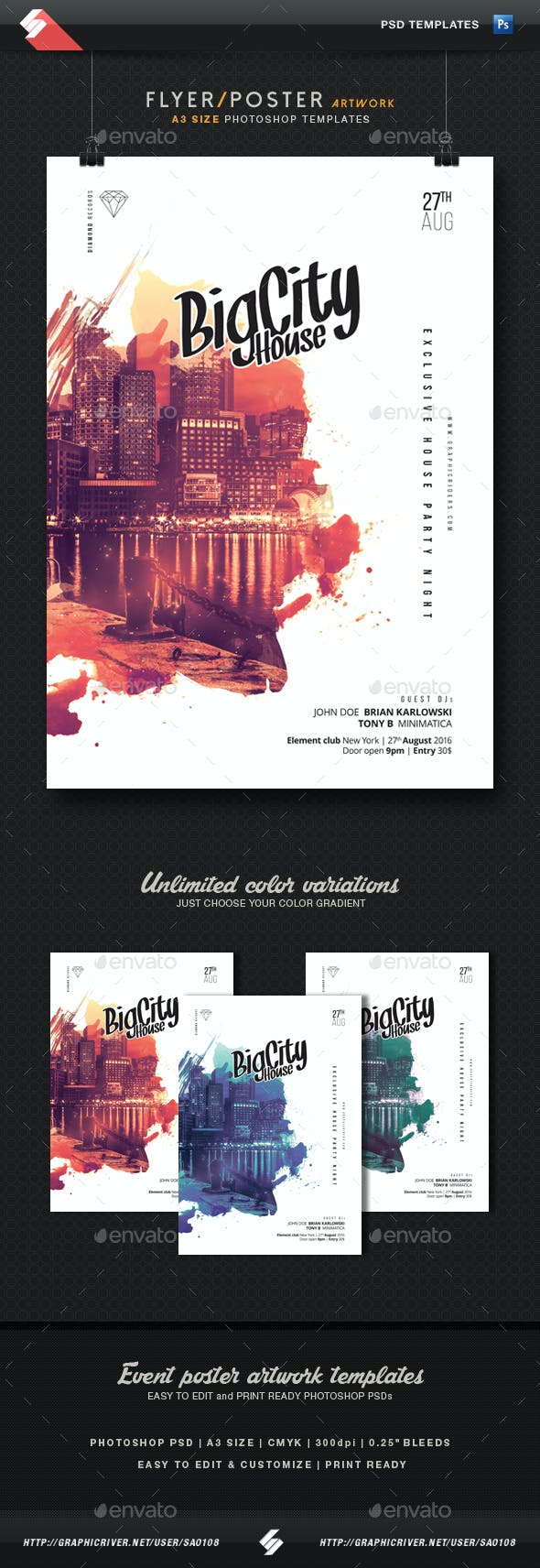 City House Party Flyer Template A3 Clubs Parties Events