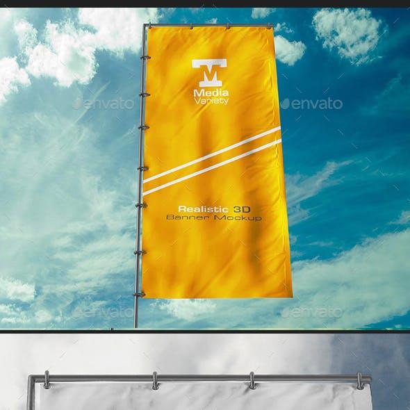 Realistic Flag Banner Mockup V2