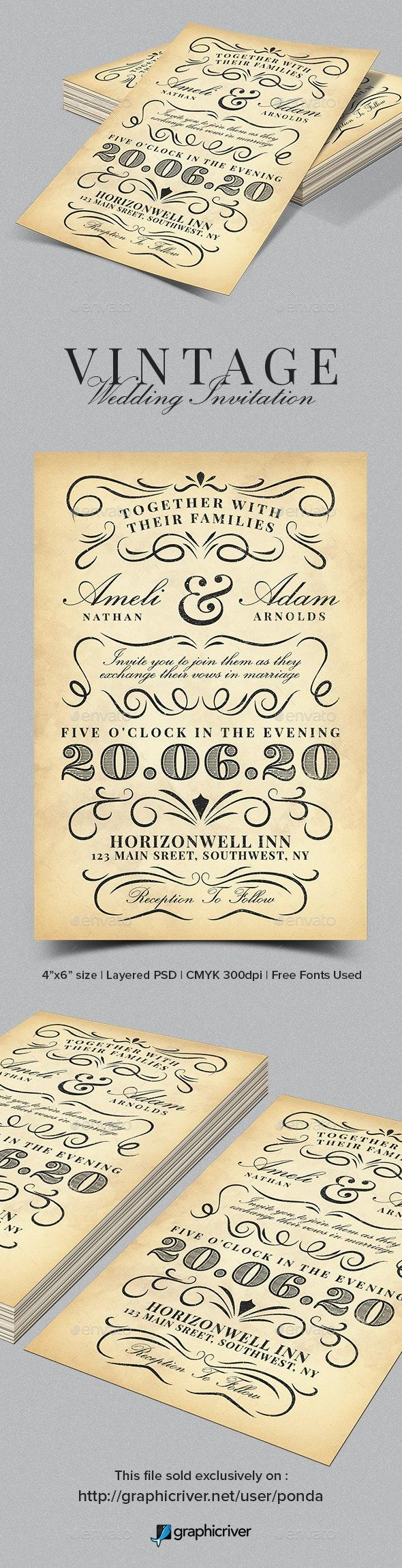 Vintage Wedding Invitation Template - Weddings Cards & Invites