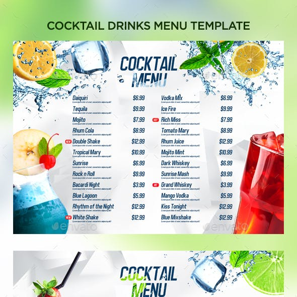 Cocktail Drinks Menu V8