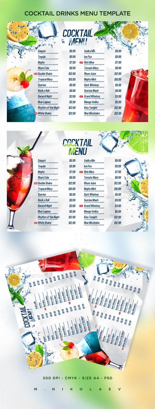 Cocktail Drinks Menu V8 - Food Menus Print Templates
