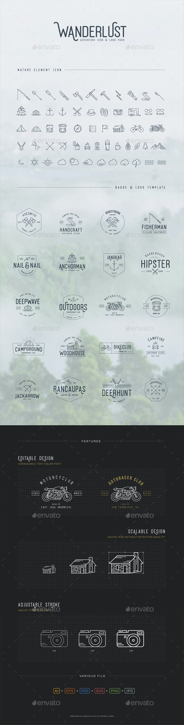 Adventure Icons + Vintage Logo Pack - Objects Icons