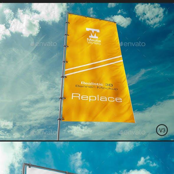 Realistic Flag Banner Mockup V3