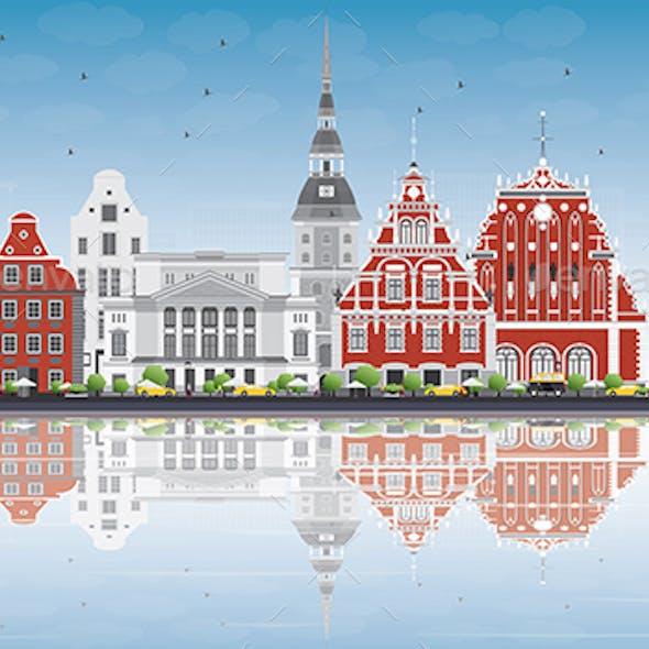 Riga Skyline with Landmarks