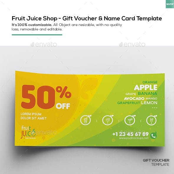 Fruit Juice Shop/  Gift Voucher and Name Card Template