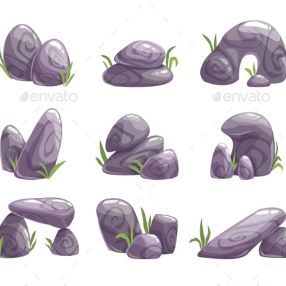 Cartoon Gray Stones Set