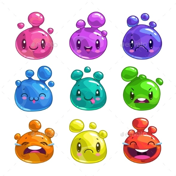 Cartoon Colorful Little Bubble Characters