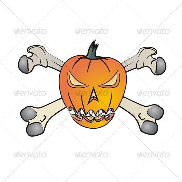 Angry Pumpkin With Bones
