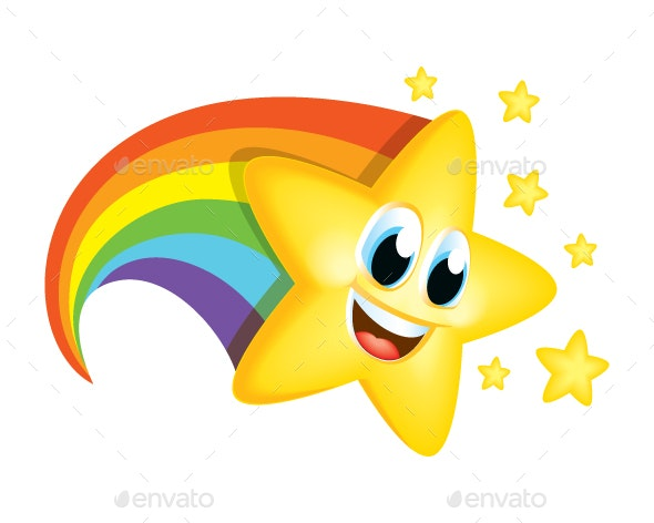 Cartoon Star with Rainbow Tail by Vectalex | GraphicRiver