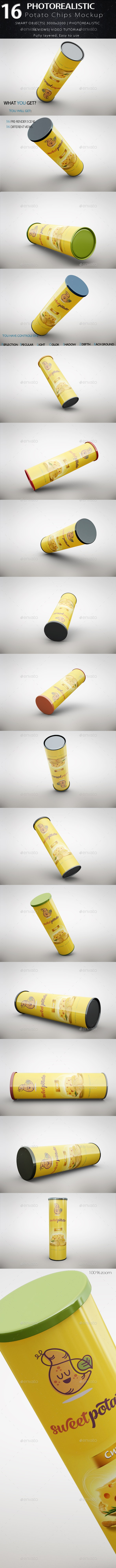 Potato Chips Tube Mockup - Food and Drink Packaging