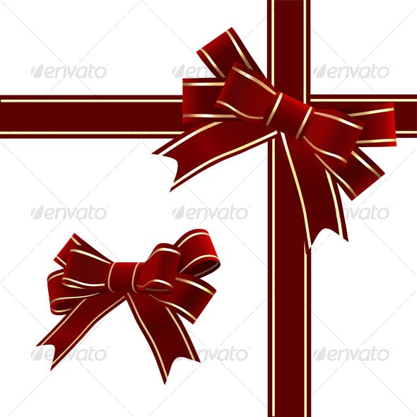 Christmas Red Ribbon With Bow