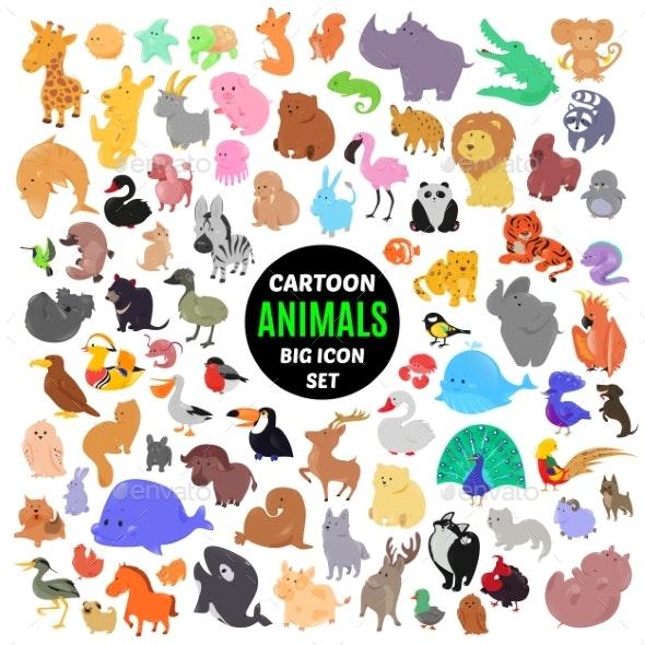Set of Cartoon Animal Icons - Animals Characters