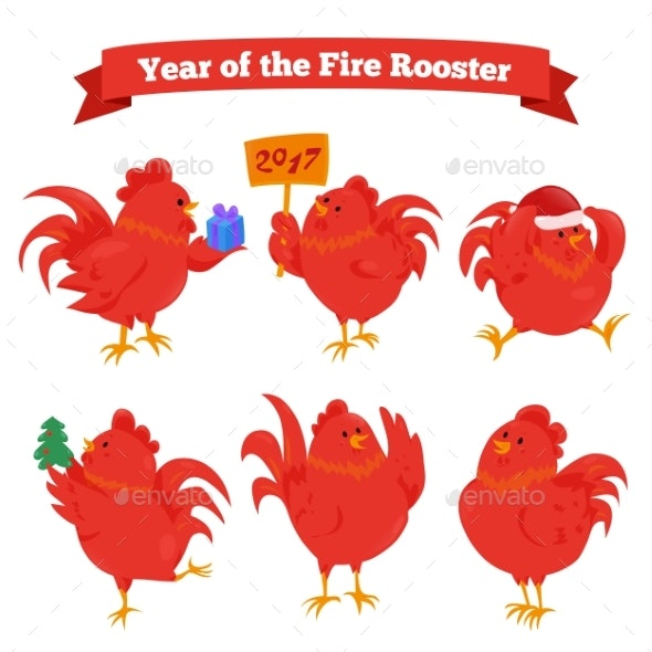 Set of Cartoon Chinese Zodiac Fire Roosters - Animals Characters