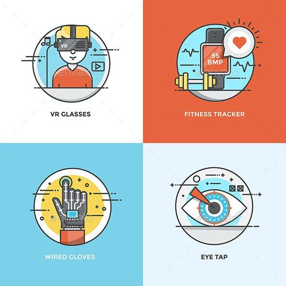 Set of Flat Color Line Design Concepts