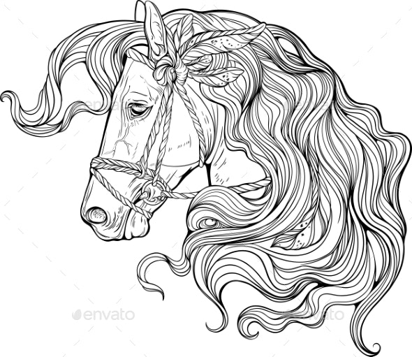 Portrait of a Horse with Long Decorated Mane