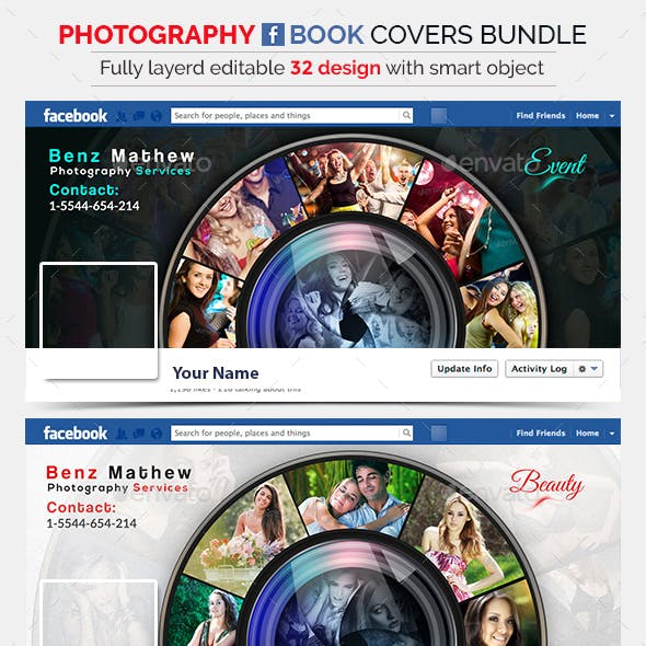 Photography Facebook Cover Bundle - 32 Designs