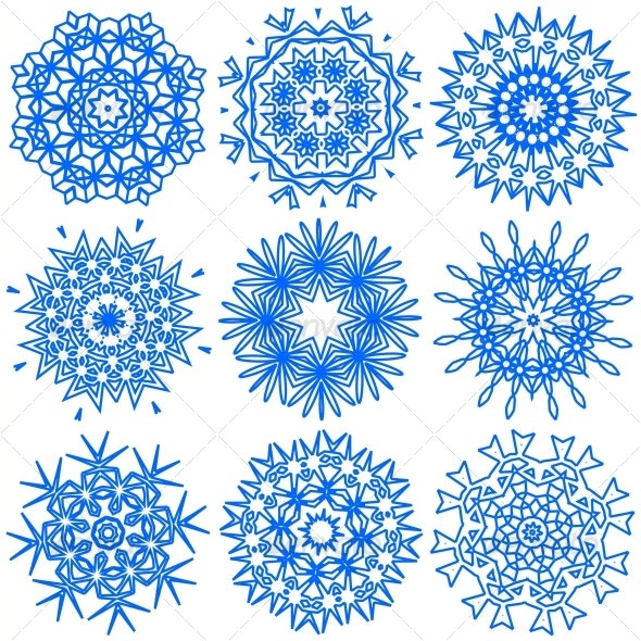 vector illustration of the snowflakes - New Year Seasons/Holidays