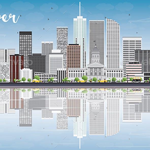 Denver Skyline with Gray Buildings