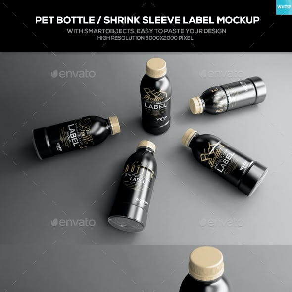 PET Bottle/ Shrink Sleeve Label Mockup