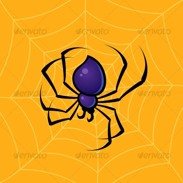 Spider With Web Background - Animals Characters