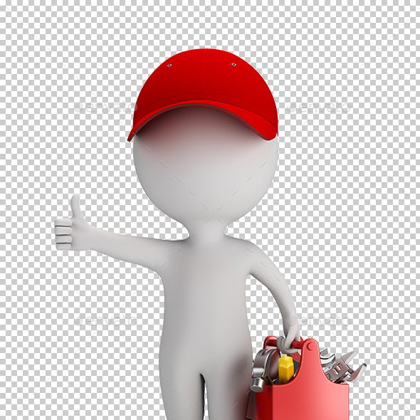 3D Small People - Mechanic with Tool Box