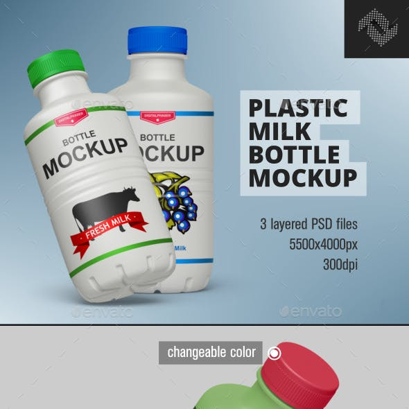 Plastic Milk Yogurt Bottle Mockup