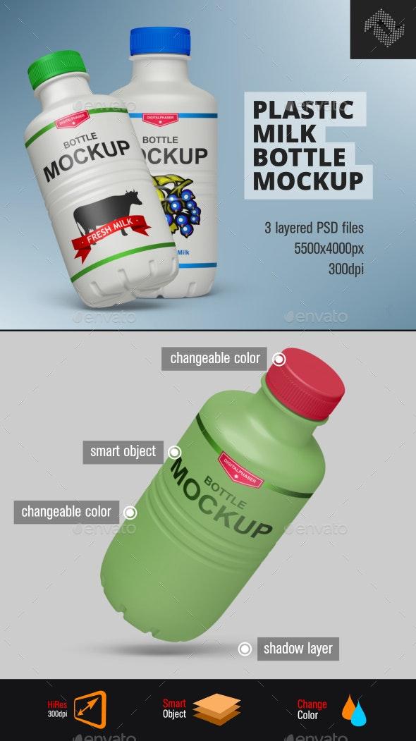 Plastic Milk Yogurt Bottle Mockup - Food and Drink Packaging