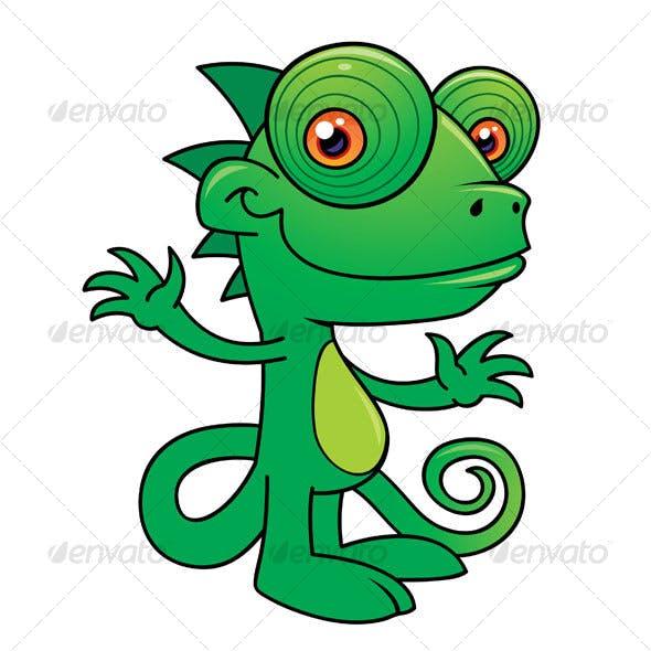 Happy Chameleon Cartoon