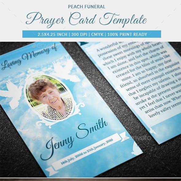 Peace Funeral Prayer Card Template