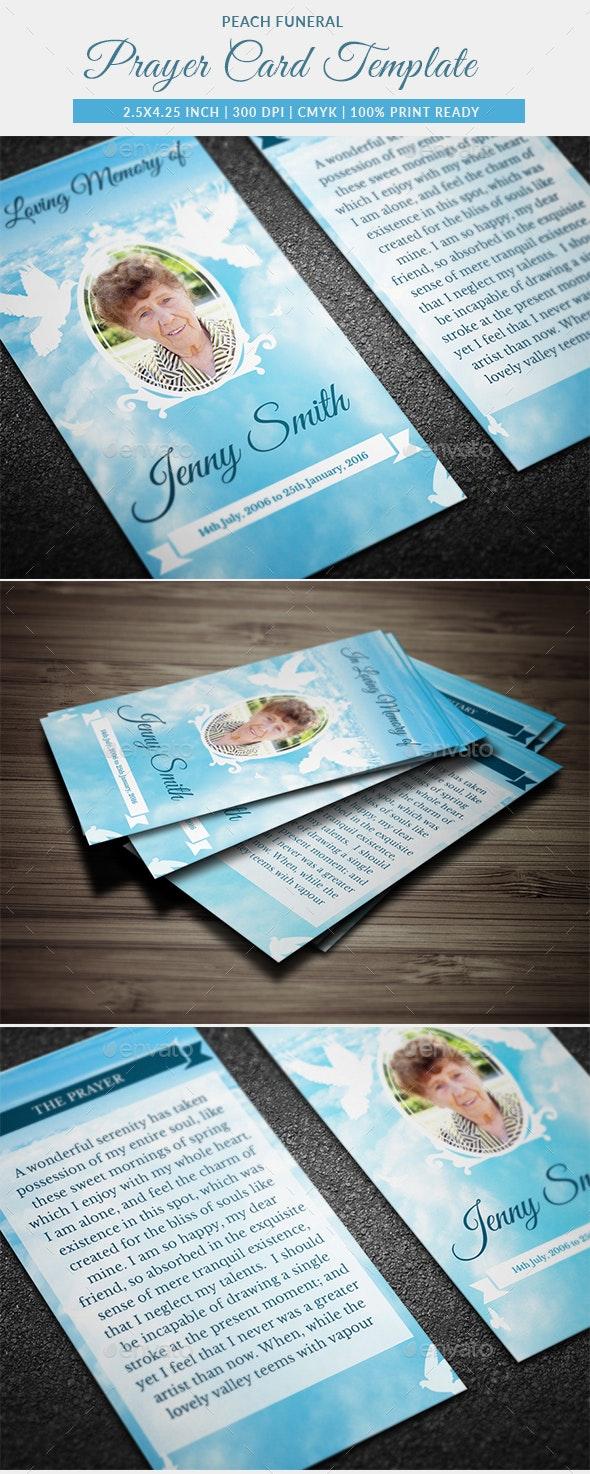 Peace Funeral Prayer Card Template - Miscellaneous Print Templates