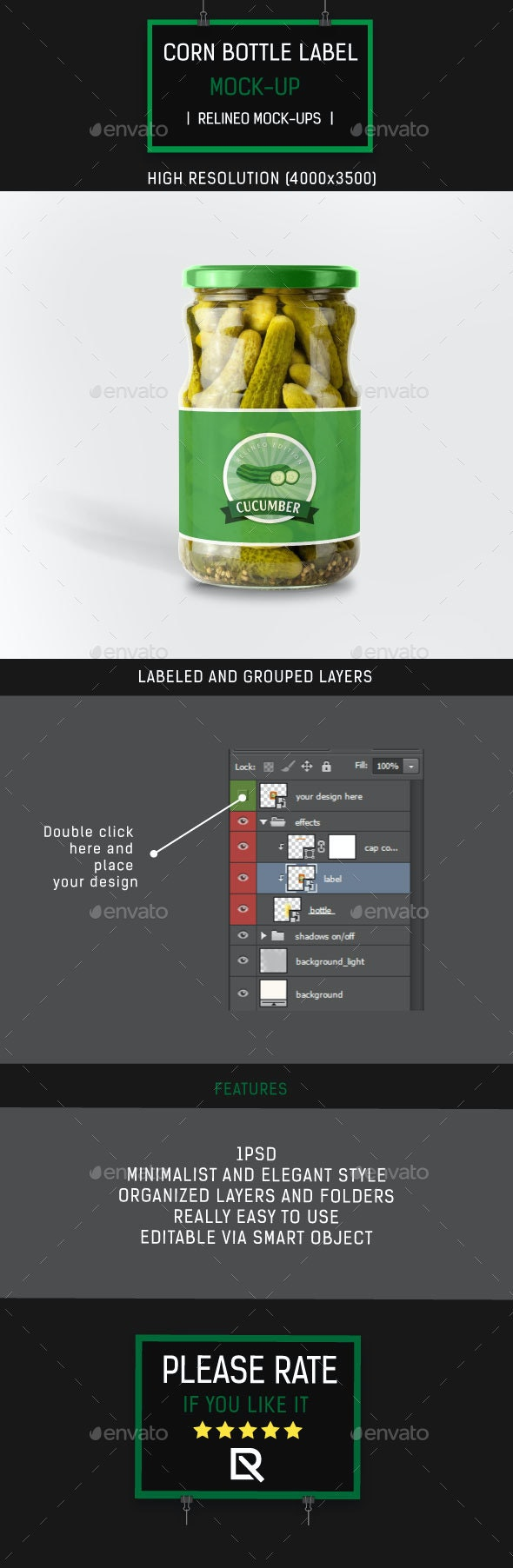 Cucumber Can Bottle Label Mock-up - Food and Drink Packaging