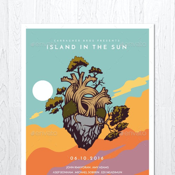 Island in the Sun Illustrated Flyer Poster