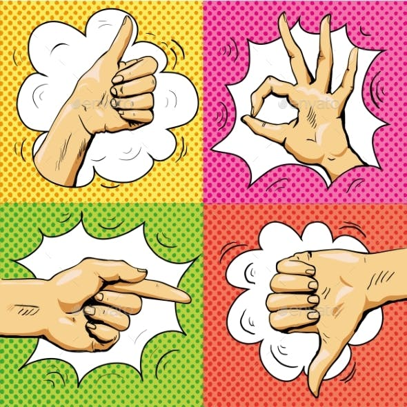Hand Signs in Retro Pop Art Style