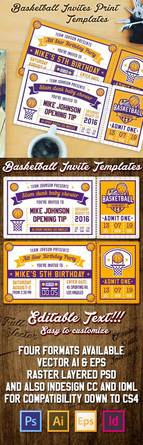 Basketball Invite Templates - Invitations Cards & Invites