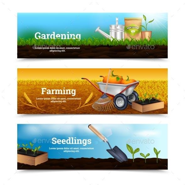 Three Gardening Horizontal Banners