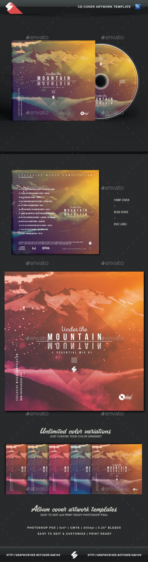Under The Mountain - Chillout CD Cover Artwork Template - CD & DVD Artwork Print Templates