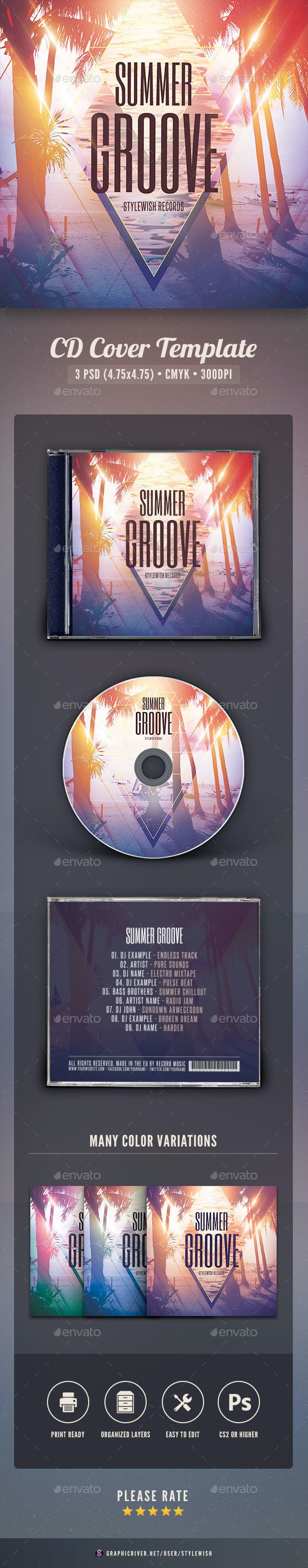 Summer Groove CD Cover Artwork - CD & DVD Artwork Print Templates