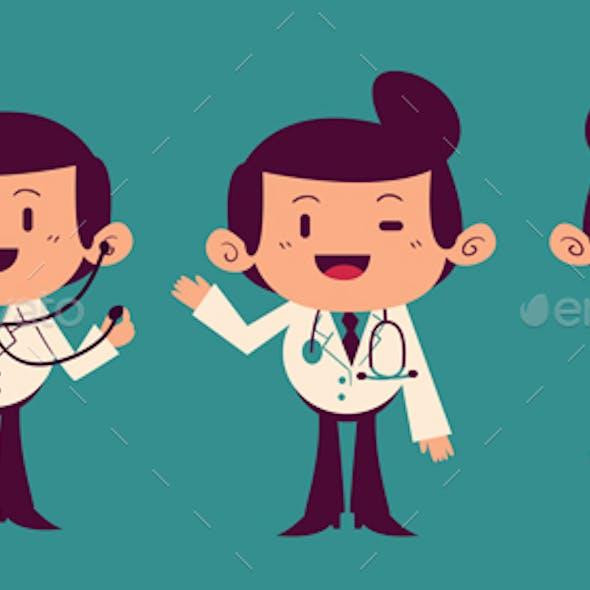 Cartoon Doctor Character Set