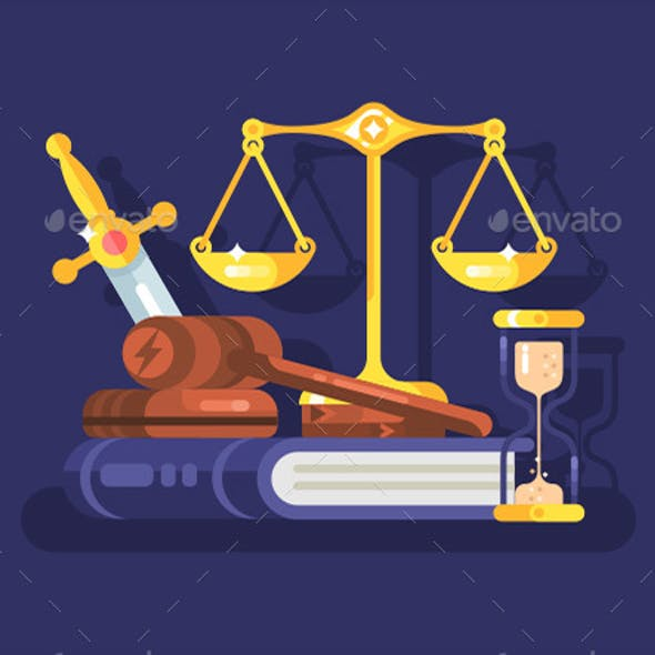 Court and Law Concept Flat