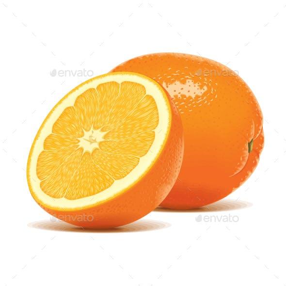 Slice Half Realistic Orange