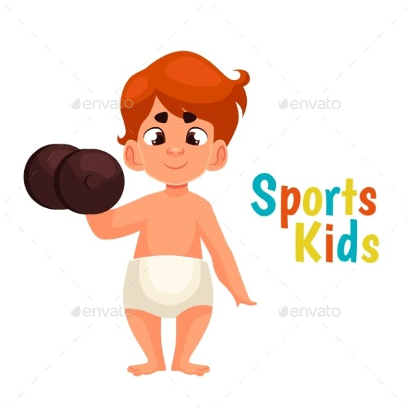 Baby in Diapers with a Dumbbell