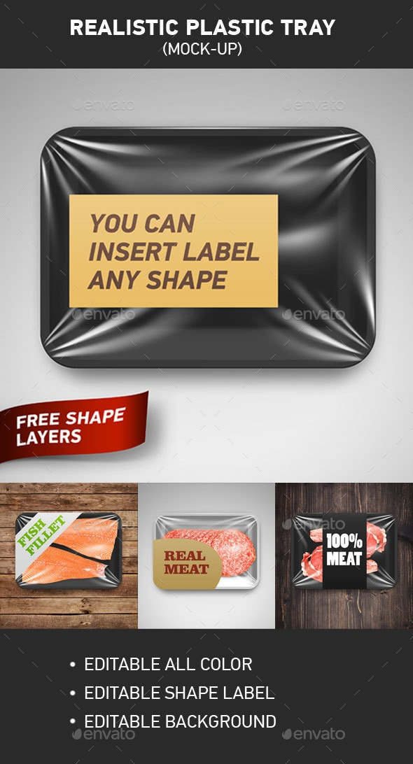 Realistic Plastic Tray - Food and Drink Packaging