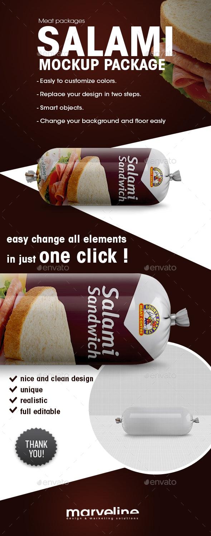Salami Package Mockup - Food and Drink Packaging