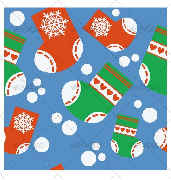 Seamless xmas stocking ornament 64 - Backgrounds Decorative
